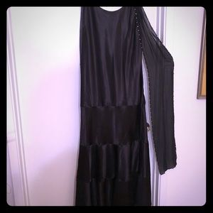 Long black gown with sparkle sheer tie